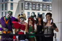 Steampunk: Joker, Harley Quinn, Poison Ivy, Cat Woman, and Bane. Fabulous use of Steampunk, and kudos for the soda tab corset!
